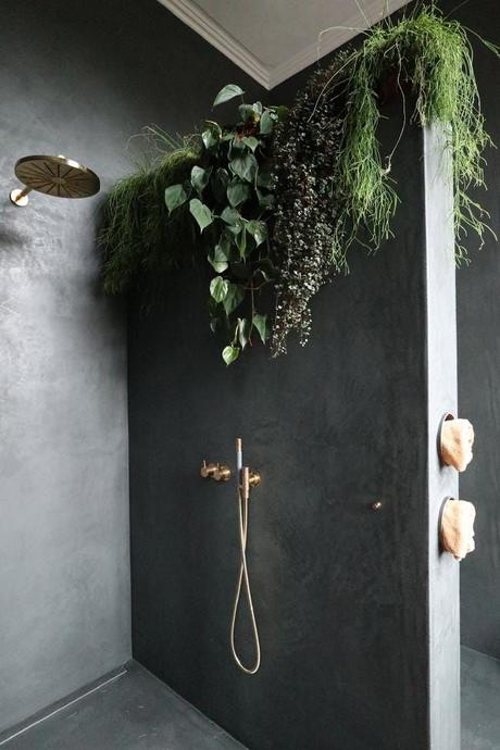 salle de bain theme nature plantes douche italienne beton cire blog deco clemaroundthecorner