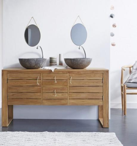 salle de bain theme nature meuble vasque pierre teck blog déco clem around the corner