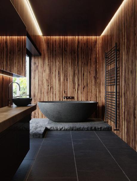 salle de bain theme nature noire et bois baignoire ilot ardoise japonisante - Blog déco - Clem around the corner