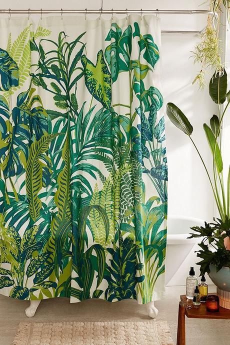 salle de bain theme nature rideau douche monstera blog déco clem around the corner