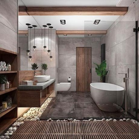 salle de bains theme nature ardoise pierre galet bois - blog déco - clem-around-the-corne