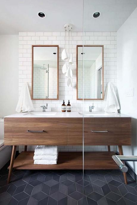 salle de bain theme nature bois carrelage losange rosace gris - Blog déco - Clem around the corner