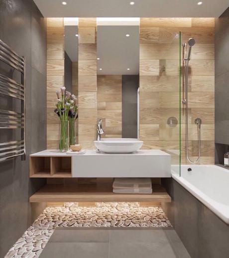 tapis petites pierres salle de bain theme nature bois carrelage taupe - blog déco - clem around the corner