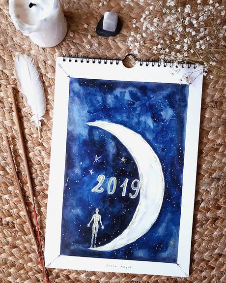calendrier 2019 original lunaire yoga aquarelle blog déco clem around the corner