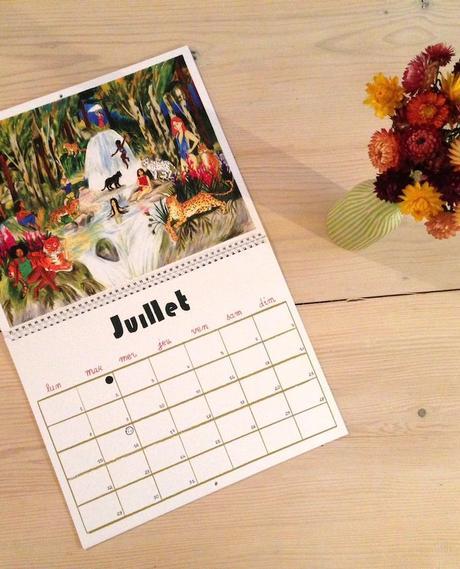 calendrier 2019 original couleurs dessin peinture illustration enfant juillet blog déco clem around the corner