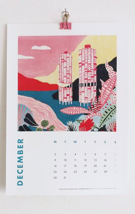 calendrier 2019 original couleurs graphisme surréaliste blog déco clem around the corner