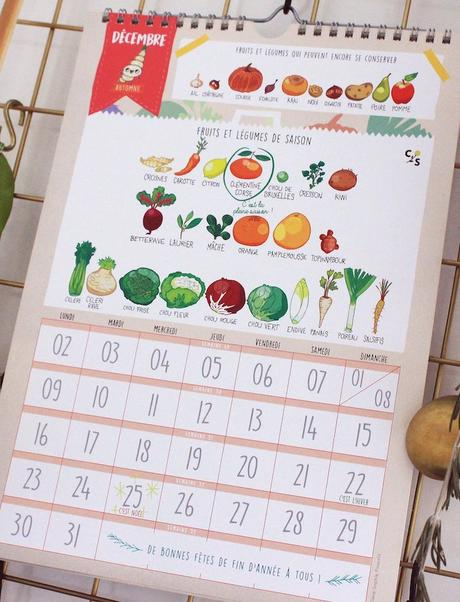 calendrier 2019 original fruits et légumes de saison décembre blog déco clem around the corner