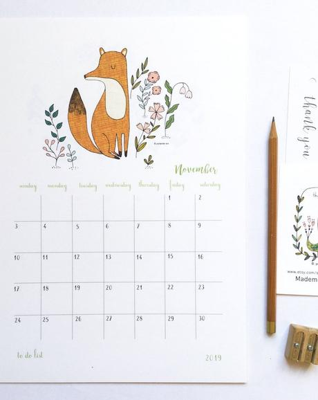 calendrier 2019 original renard illustration novembre 1 blog déco clem around the corner