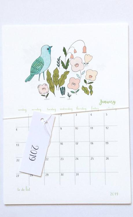 calendrier 2019 original floral illustration janvier 1 blog déco clem around the corner