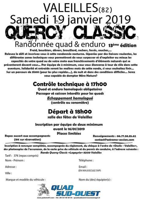13 ème Rando quad-moto Quercy Classic à Valeilles (82), le 19 janvier 2019