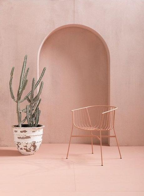 deco rose poudre cactus chaise rose pale blush