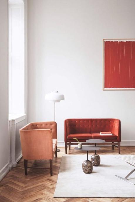 couleur de l'année pantone 2019 salon living coral corail velours blog déco clem around the corner