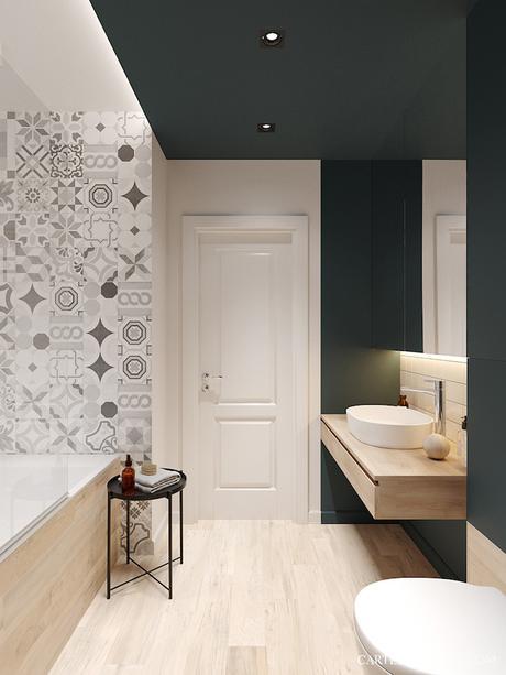 salle de bain verte sapin minimaliste 3 pièces de Saint Pétersbourg - blog déco - Clem Around The Corner