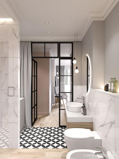 salle de bain verrière suite parentale 3 pièces de Saint Pétersbourg - blog déco - Clem Around The Corner