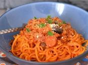 Spaghettis patate douce bolognaise végétale