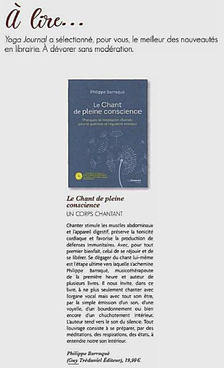Dans le mag Esprit Yoga|le livre Le Chant de pleine conscience|