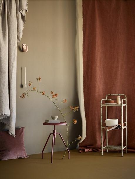 couleur terracotta vert kaki coloris teinte salon séjour tabouret rideau chanvre blog déco clem around the corner