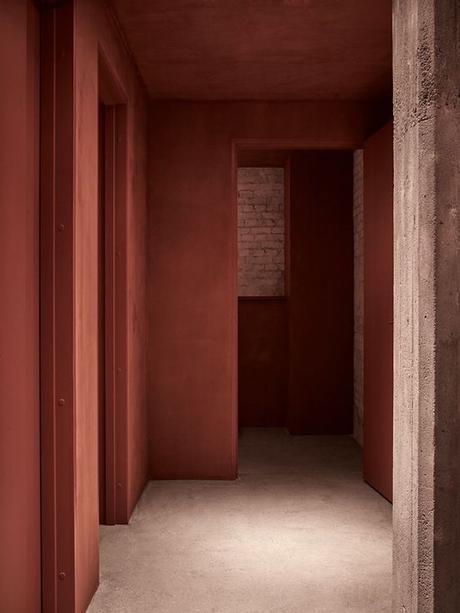 couleur terracotta couloir mur brique peinture blog déco clem around the corner