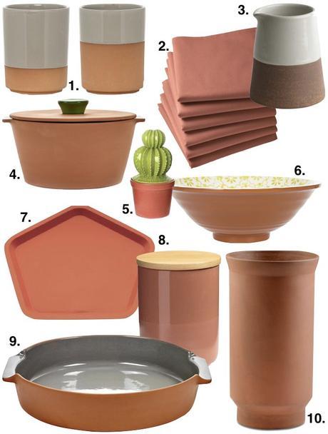 couleur terracotta cuisine ustensiles plats bocaux conserve plateau décoration blog déco clem around the corner