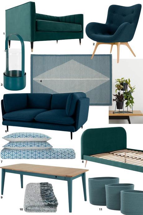 soldes d'hiver made 2019 bleu canard décoration tendance - blog déco - clem around the corner