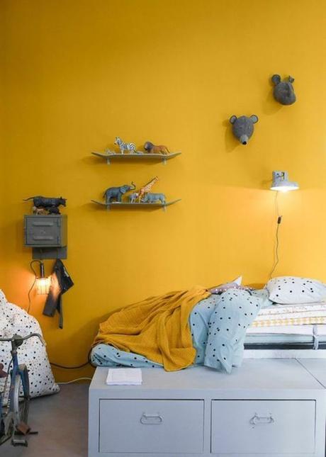 déco couleur jaune moutarde mur peinture chambre enfant bleu blog déco clem around the corner
