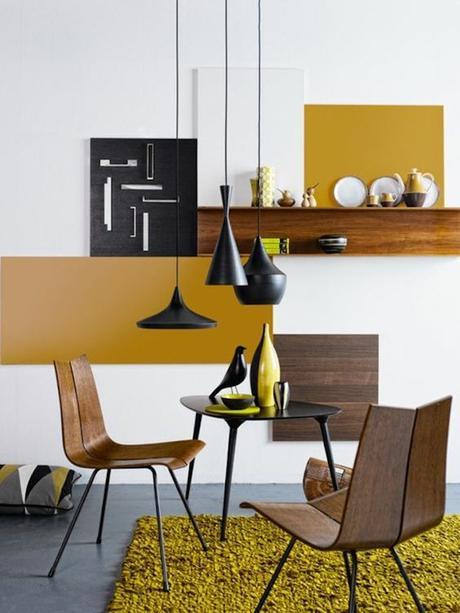 déco couleur jaune moutarde salon bois noir or blog déco clem around the corner