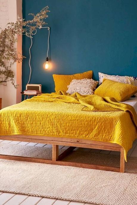 déco couleur jaune moutarde couverture couvre lit coussins blog déco clem around the corner