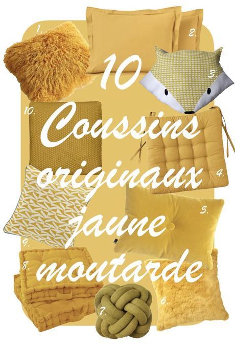déco couleur jaune moutarde blog shopping liste coussin déco clem around the corner