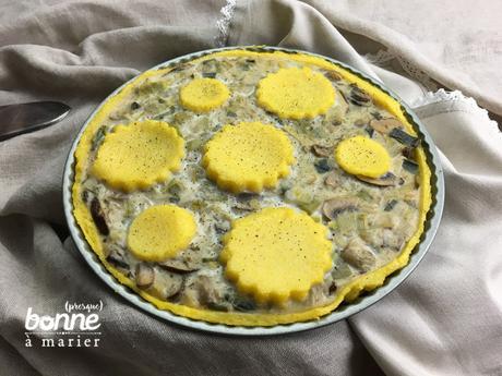 Tarte aux poireauxet champignons sur « pâte » de polenta