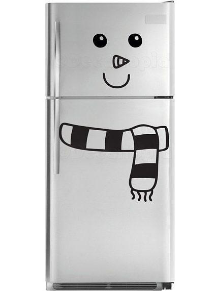 customiser le frigo avec du masking tape sticker bonhomme de neige blog création déco clemaroundthecorner