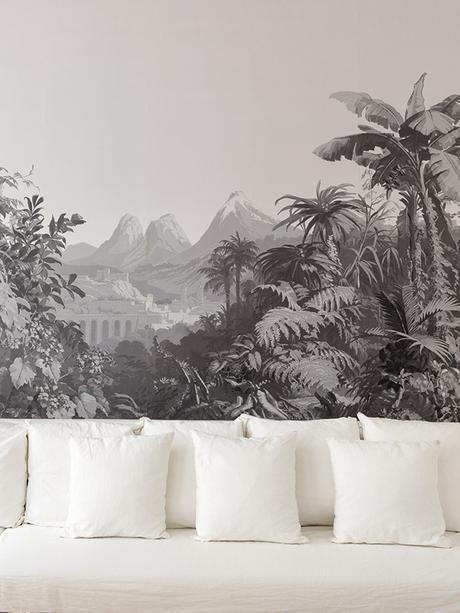 papier peint colonial noir blanc pied-à-terre parisien - blog déco - Clem Around The Corner