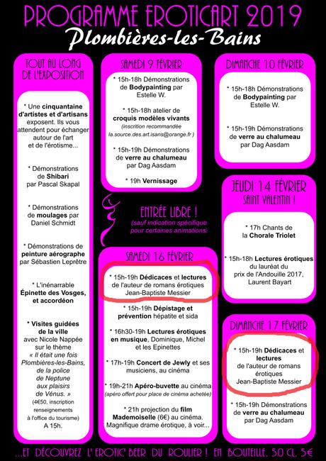 Dédicaces et lectures de Jean-Baptiste Messier le 16 et 17 février 2019 à Plombières-les-bains (entrée libre)