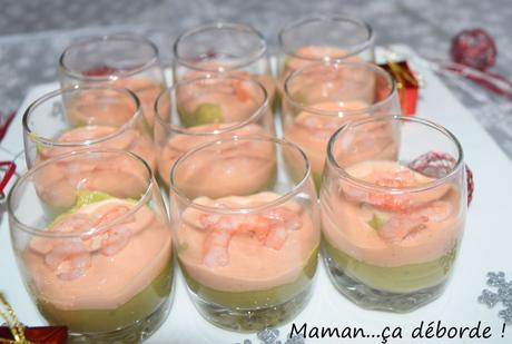 Verrine avocat, crevette sauce cocktail
