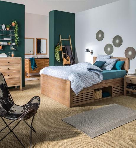 optimiser le rangement chambre lit coffre tiroir suite parentale vert foncé blog déco clem around the corner
