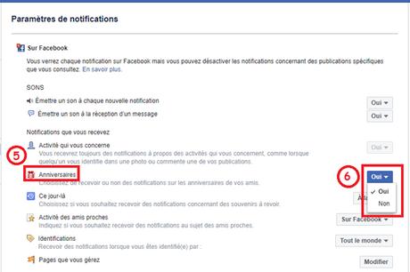 permettre l'apparition des notifications d'anniversaire sur le sit web fb