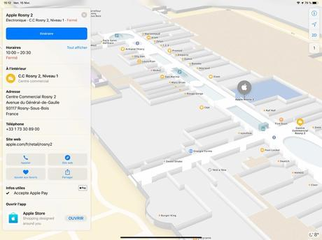 Apple Plans cartographie désormais l'intérieur des centres commerciaux