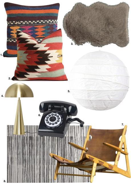 chalet noir tapis lampe fauteuil abat jour papier coussins - blog déco - clem around the corner