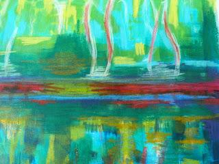 Au bord de l'eau acrylique sur papier-At the edge of the  water acrylic on paper.
