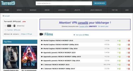 Nouvelle adresse pour Torrent9 et les téléchargements gratuits