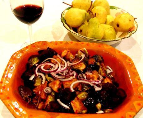 Salade chaude de Choux de Bruxelles, betteraves, tempeh et pommes