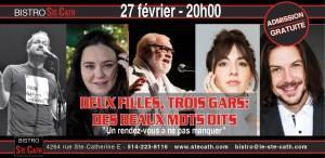 Soupers spectacles à Montréal, improvisation littéraire, musique, poésie