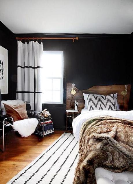 déco chambre ado cocooning idée décoration mur sombre plaid fourrure blog déco clem around the corner