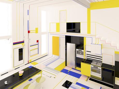 Un appartement inspiré par le peintre Mondrian