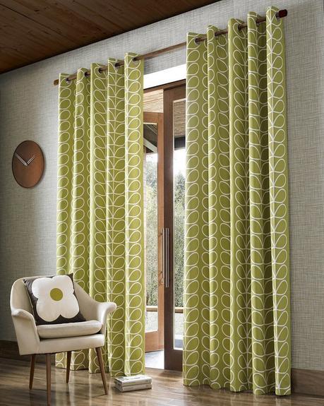 style rétro salon rideux feuilles vertes - blog déco - clem around the corner
