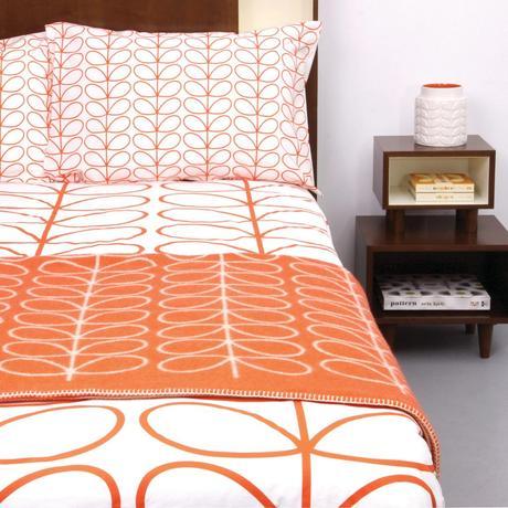 style rétro linge de lit orange blanc - blog déco - clem around the corner