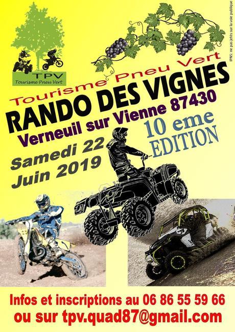 10 ème édition de la Rando des Vignes du TPV le 22 juin 2019 à Verneuil sur Vienne (87)