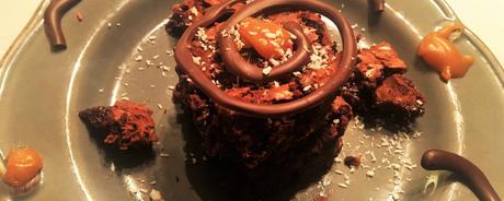 Brownie chocolat caramel au beurre salé et sa spirale au chocolat