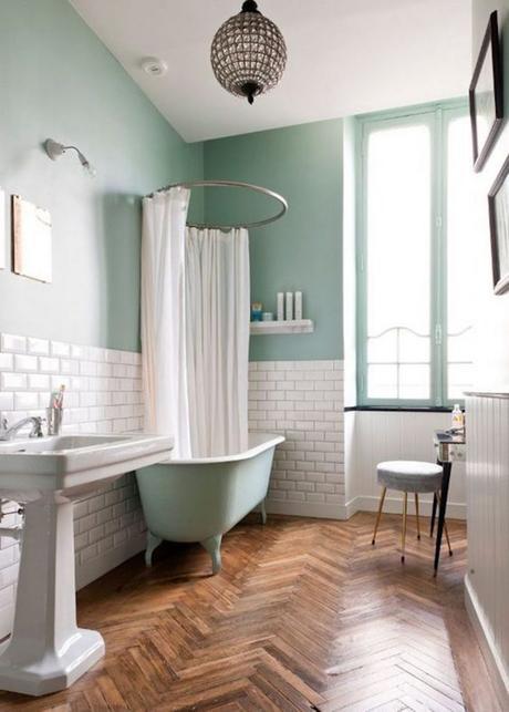 décoration vert céladon salle de bain scandinave mur brique - blog déco - clem around the corner