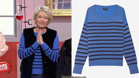 AFFAIRE CONCLUE : le pull bleu rayé de Sophie Davant