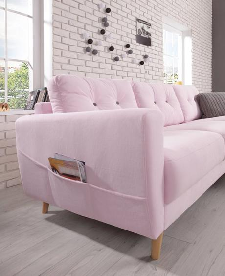millennial pink canapé coffret bouton bois salon - blog déco - clem around the corner
